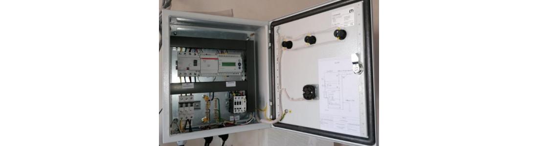 Щити керування електрообігрівом: водостічних труб, водостічних ринв, водостічних воронок, водометів, краю даху та інших елементів покрівлі